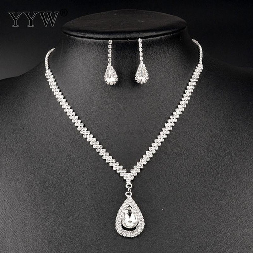 Silver Color Wedding Jewelry Sets Clear CZ Zircon Water Drop Pendant Choker Necklace Earrings For Women Mother's Day Gift