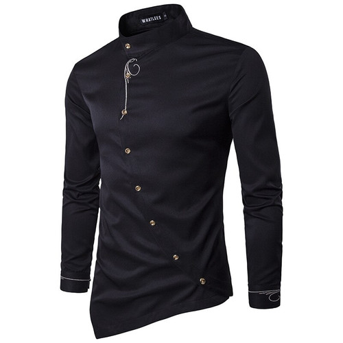 Fashion New Male Shirt Long Sleeve Mens Clothes Oblique Button Dress Shirts Mandarin Collar Men Tuxedo Shirts NZ15