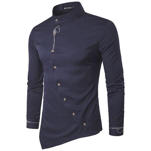 Fashion New Male Shirt Long Sleeve Mens Clothes Oblique Button Dress Shirts Mandarin Collar Men Tuxedo Shirts NZ15