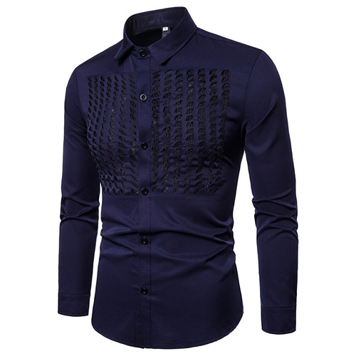 New Men Business Long Sleeve Shirts Turn-down Collar 100% Cotton Male Shirt Slim Fit leisure shirts S-XXL