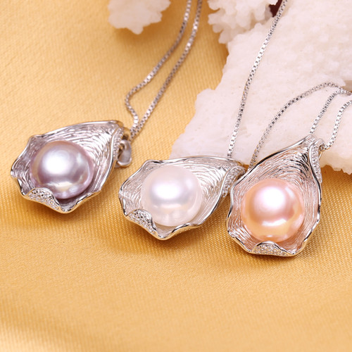 FENASY charm Shell design Pearl Jewelry,Pearl Necklace  Pendant, 925 sterling silver jewelry ,fashion necklaces for women 2016