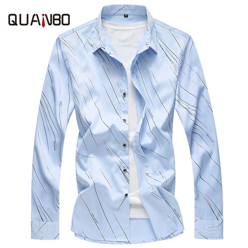 QUANBO Brand 2018 New Autumn Fashion Slim Fit Geometric Print Men Long Sleeve Shirt Casual Male Social Shirts Plus size M-7XL