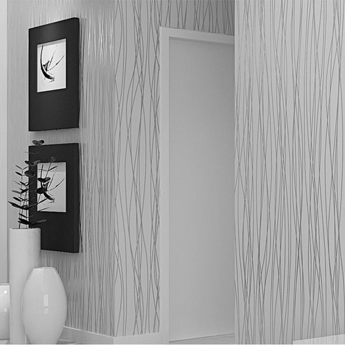 Non-Woven Fashion Thin Flocking Vertical Stripes Wallpaper For Living Room Sofa Background Walls Home Wallpaper 3D Grey Silver