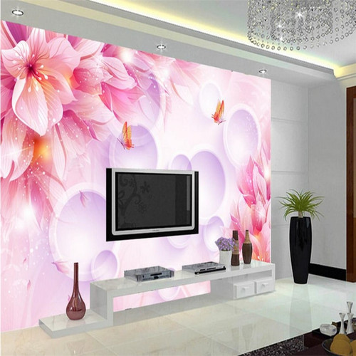 beibehang wallpaper wall murals wall stickers pink warm flowers romantic fashion 3D stereo TV backdrop wall papel de parede