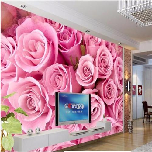 beibehang Large custom wallpapers made of 3D stereo pink roses romantic flower TV background living room bedroom luxury murals