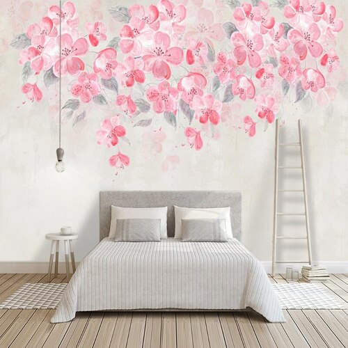 Photo Wallpaper Modern Watercolor Pink Flower 3D Stereo Flower Photo Wall Murals Living Room TV Self-Adhesive 3D Wall Stickers
