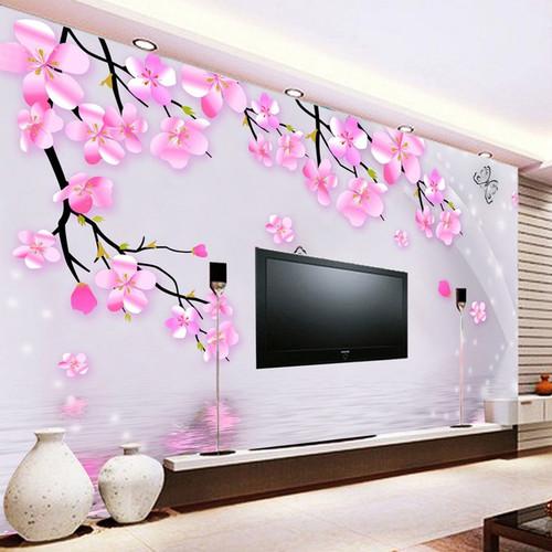Photo Wallpaper 3D Stereo Pink Flowers Butterfly Mural Living Room Bedroom Romantic Interior Decor Wallpaper Papel De Parede 3D