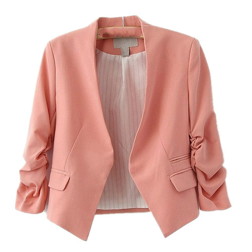 New Arrival Spring Autumn Fashion Brand Blazer Women Candy Color Ladies Coat Slim Solid Puff Sleeve Blazers Basic Jackets