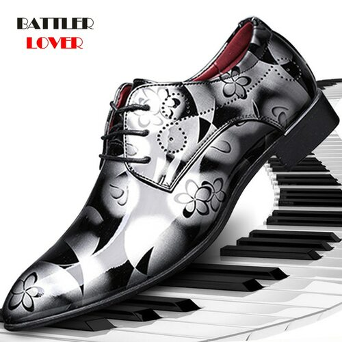 Men Dress Shoes Floral Pattern Men's Formal Shoes Leather Luxury Fashion Oxford Shoes For Men Business Wedding Shoes Size 38-48