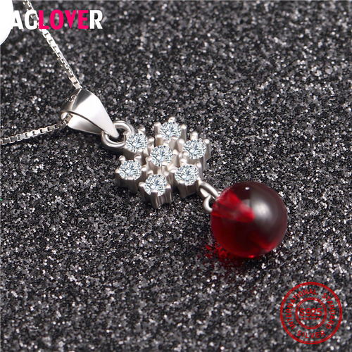 925 Sterling Silver Women Necklace Round Bead Red Purple Pink Crystal Snowflake Pendant Necklace Female Jewelry