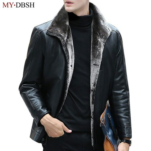 2019 Winter Thicken Leather Coat Men Faux Fur Warm Jackets and Coat Jaqueta de Couro Motorcycle Men's Fashion Fur Leather Jacket