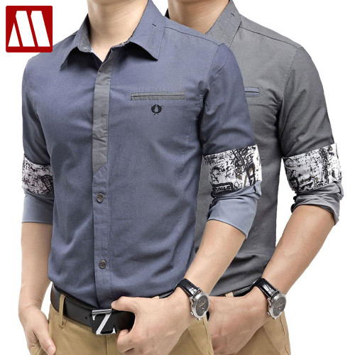HOT 2019 New Spring Fashion Brand Trend Men Contrast Color Slim Fit Shirts Men Long Sleeve Shirt Mens Casual Shirt Social S-XXXL