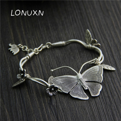 925 Sterling silver Multilayer Flowers Pendant Bracelets&Bangles Fashion Women Elephant Butterfly Charm Bracelet Jewelry gift