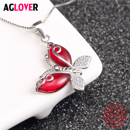 925 Sterling Silver Jewelry Necklace Inlay AAA Crystal Women's Butterfly Pendant Necklace