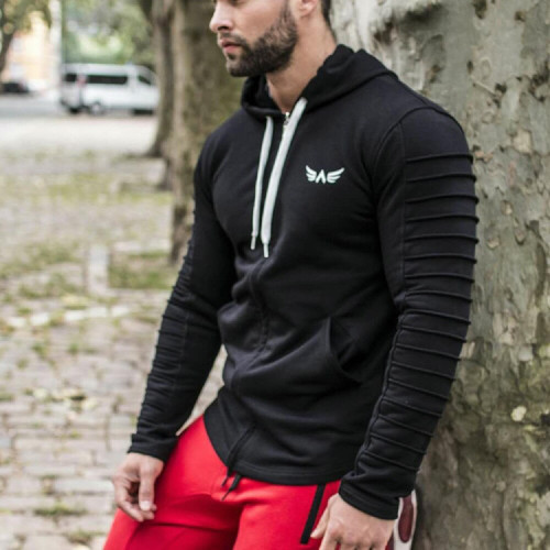 Raibaallu fitness wolves muscle spring and autumn casual hoodie jacket jacket men fitness zipper cardigan training uniform