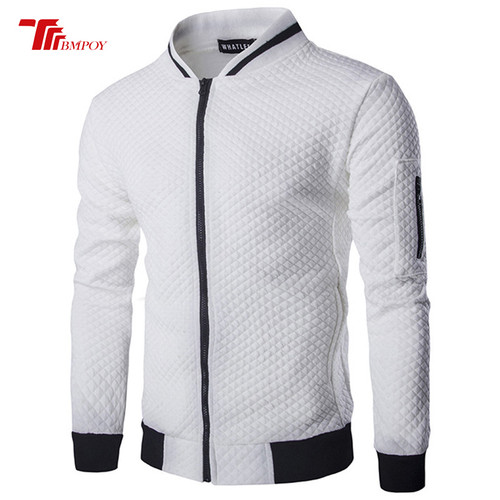 Men's Sweatshirt Fashion classic Small diamond Plaid Baseball uniform Men Standing collar Zippers Cardigan Sweatshirts