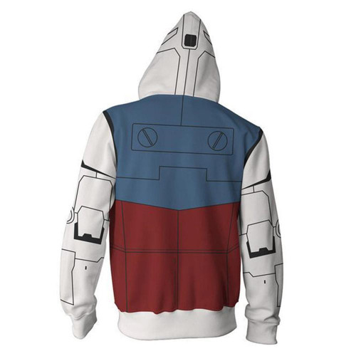 GUNDAM Hoodie Zip Up Sweatshirt Uniform Coat Jacket Cosplay Cardigan