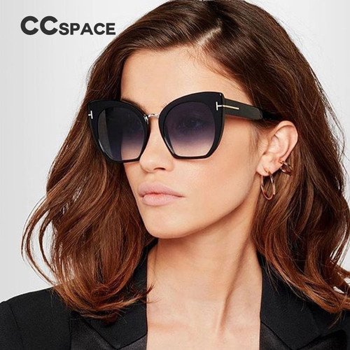 45079 Lady Oversized Sunglasses For Women Cat Eye Brand Designer Glasses Fashion Rivet T Eyewear UV400 Protection