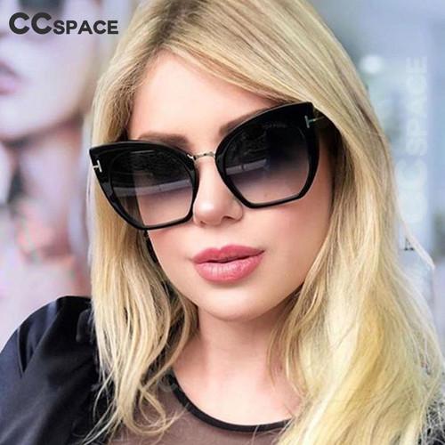 45079 Lady Oversized Sunglasses For Women Cat Eye Brand Designer Glasses Fashion Rivet T Eyewear UV400 Protection