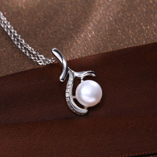 DAIMI Tree Pendant White Round Freshwater Pearl Pendant Crystal Necklace 925-Silver-Jewelry Fashion Jewelry For Women 199
