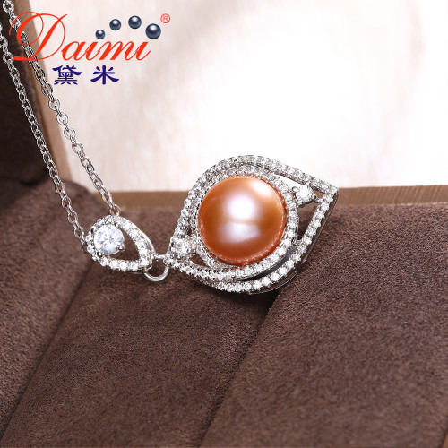DAIMI Shiny Crystal Pink Pearl Pendant 9.5-10mm Big Freshwater Pearl Necklace 925 Sterling Silver Luxury Jewelry PFP189
