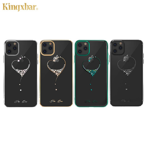 Embellished with Crystals from Swarovski Phone Case For iPhone 11/ Pro/ Max Fashion Heart Rhinestone Hard Plated Back Case Cover