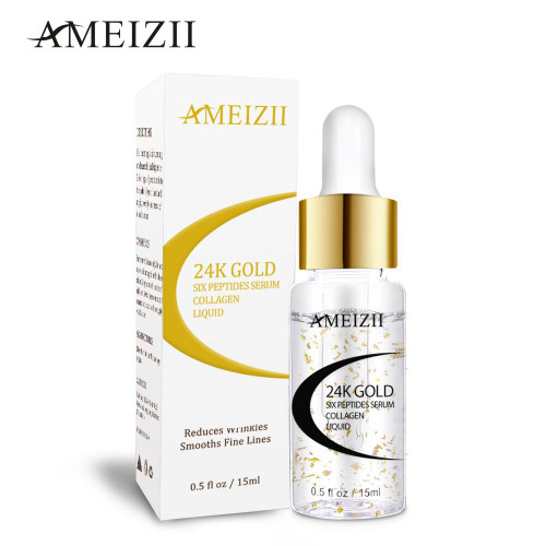 AMEIZII 24K Gold Six Peptides Serum Anti Wrinkle Collagen Whitening Pure Hyaluronic Acid Face Cream Skin Care Firming Essence