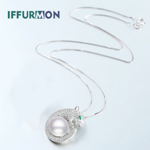IFFURMON Fine Necklaces Freshwater Pearl Women Pendant 925 Sterling Silver Necklace Party Animal Chain Crystal Jewelry