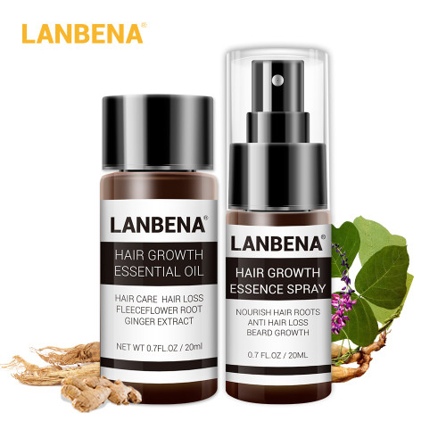 LANBENA Fast Powerful Hair Growth Essence+Spray 2PCS Preventing Baldness Consolidating Anti Hair Loss Nourish Roots Hair Care
