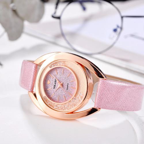 Hot Sale Women Rhinestone Watch Luxury Leather Moving Diamond Clock Quartz Watches YOLAKO Brand Relogio Feminino