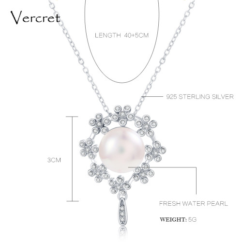 Vercret freshwater pearl pendant necklace with crystal in 925 sterling silver garland pearl jewelry wedding gift for women