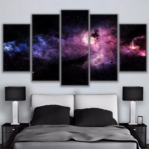 Canvas Paintings Wall Art Frame Modular HD Prints Starry Sky Poster 5 Pieces Nebula Abstract Landscape Pictures Kids Room Decor
