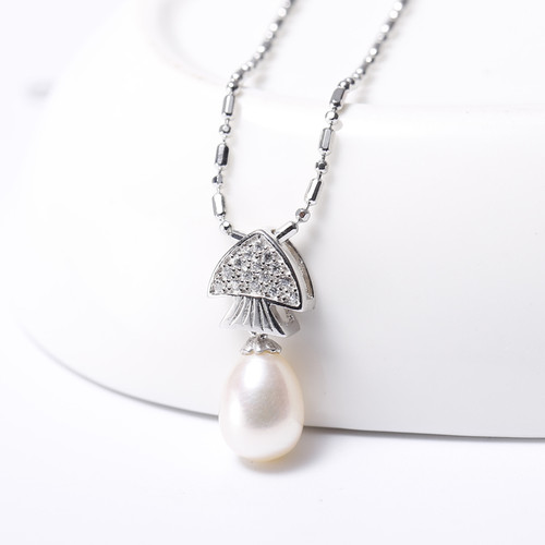 DAIMI 2017 Trendy 7-8mm White Natural Freshwater Pearl Fish Crystal Pendant Necklace for Women 925 Sterling-Silver Jewelry