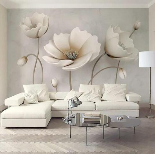 3D Embossed Solid Flower European Flower Mable Style Photo Wallpaper Murals Wall Paper for Living Room Home Wall Decor Mural