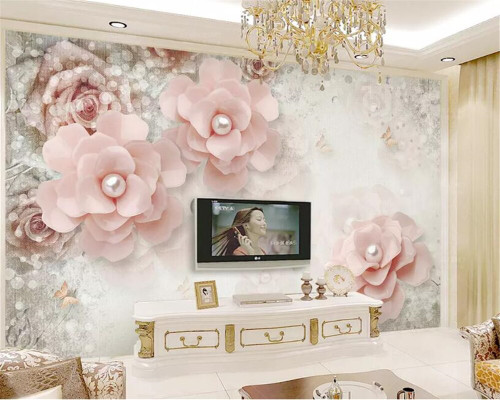beibehang Custom 3d mural wallpaper European pearl flower butterfly 3d TV Bedside table background wall wall papers home decor
