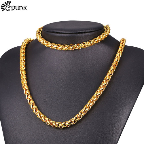 9mm Necklace Bracelet Set For Men Stainless Steel Chain Black Gun color Gold color 2016 Men Jewelry Wholesale S2169G