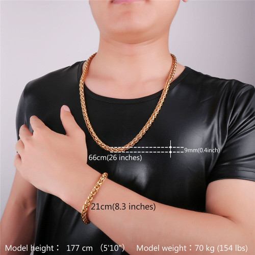 9mm Necklace Bracelet Set For Men Stainless Steel Chain Black Gun color Gold color 2016 Men Jewelry Wholesale S2169G