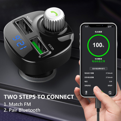 Car FM Transmitter Wireless Radio Adapter Dual USB Charger Bluetooth Mp3 Player Support Handsfree Call