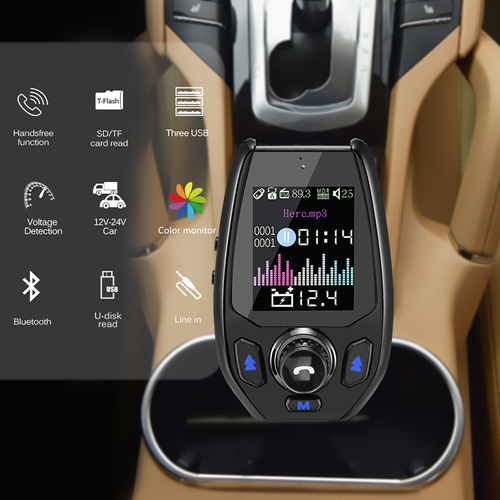 Onever 5V 4.2A FM Transmitter Car Bluetooth Handsfree Modulator QC 3.0 Three USB Ports Charger MP3 Player 12V-24V Car Kit Fit TF