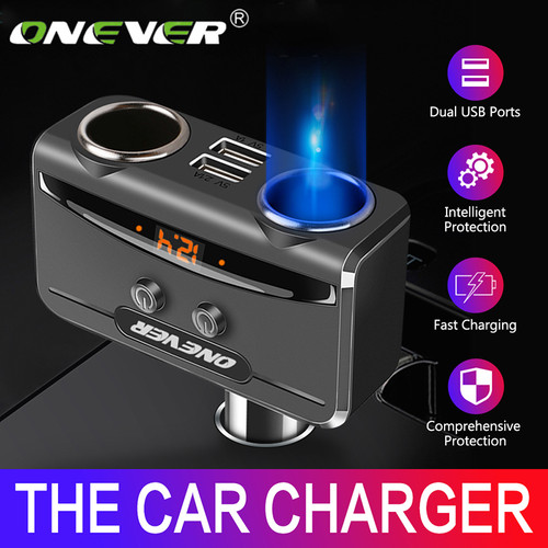 Onever Car USB Cigarette Lighter Socket Splitter 12V-24V Power Adapter Max 5V 3.1A Dual USB Car Charger with Voltmeter LCD