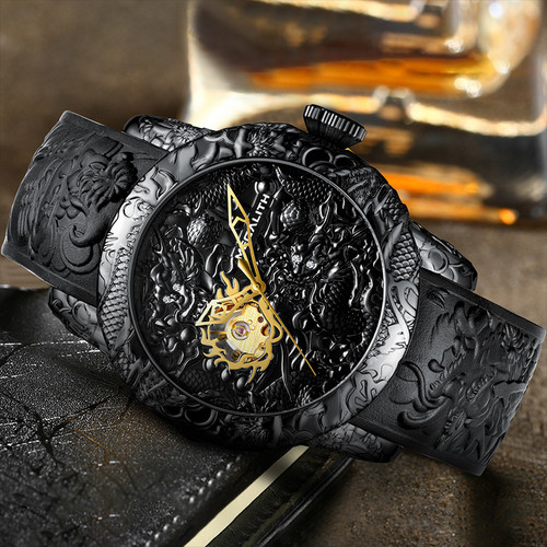 MEGALITH Fashion Gold Dragon Sculpture Men Watch Automatic Mechanical Watch Waterproof Silicone Strap Wristwatch Relojes Hombre