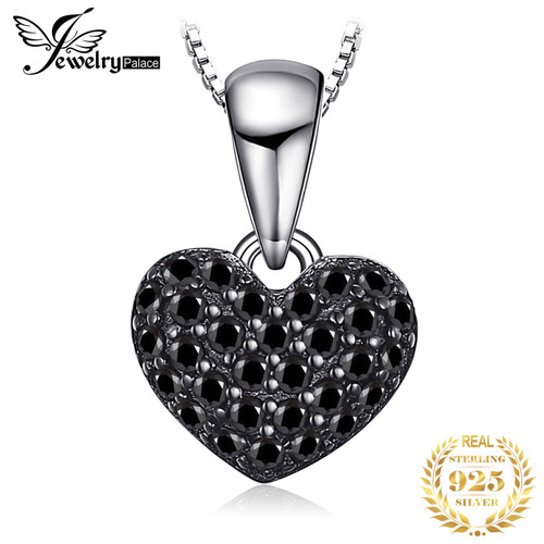 JPalace Heart Natural Black Spinel Pendant Necklace 925 Sterling Silver Gemstones Choker Statement Necklace Women Without Chain