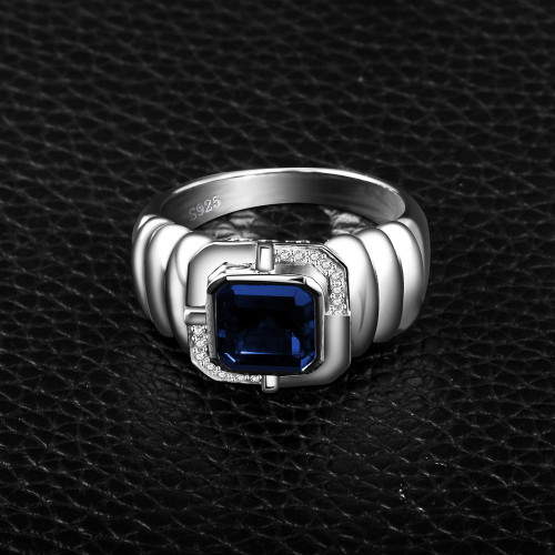 Jewelrypalace Men's Created Sapphire Black Spinel Anniversary Engagement Wedding Ring 925 Sterling Silver