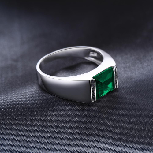 Jewelrypalace Created Nano Russian Emerald Natural Black Spinel Men's Ring 925 Sterling Silver Rings Gemstone Jewelry Gifts