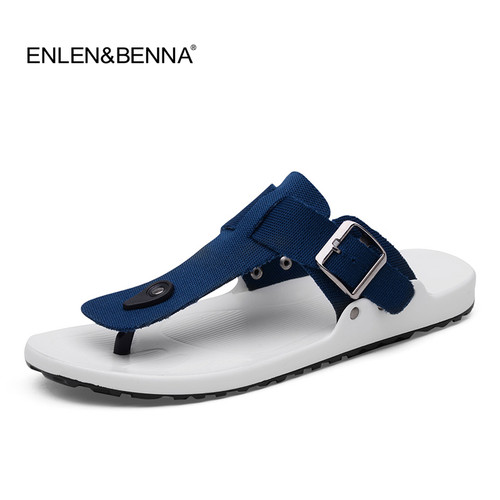 2018 Canvas Sandals Men Black Blue Grey Flip Flops Casual Flat Sandals Summer Beach Slipper Men Comfort Design Flip Flops Shoes