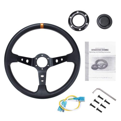 Universal 350mm 14 inch PU & Aluminum Alloy Steering Wheel Car Sport Racing Steering Wheel Drifting Deep Corn Dish