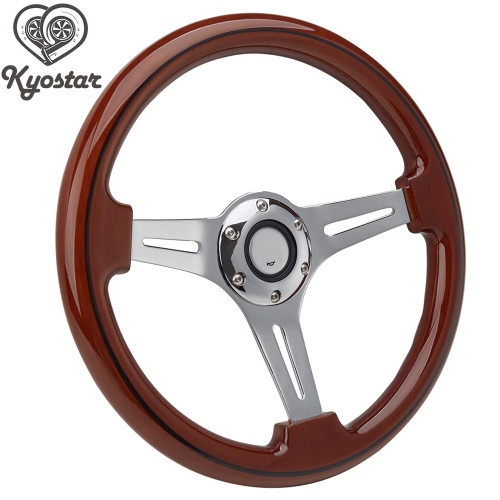 "14"" Racing Car Wood  Steering Wheel with Chrome Silver Spoke Universal 350mm Brown Wood Grain Steering Wheel"