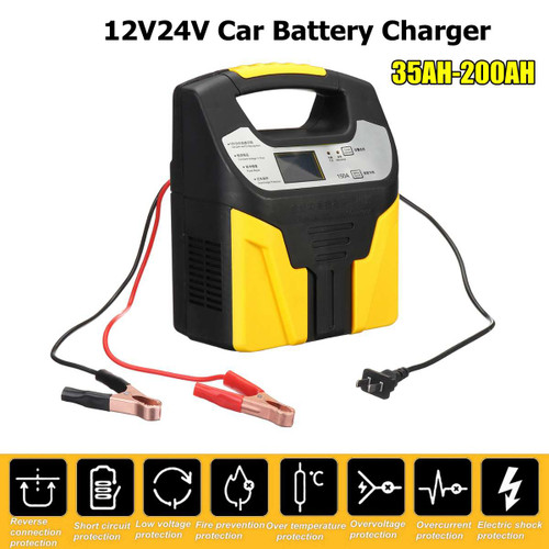 Car Jump Starter 15A 220V Lead Acid Battery Chargers 12v 24V Smart Fast Charging Full Automatic Motorcycle Truck Car Battery Charger LCD Display