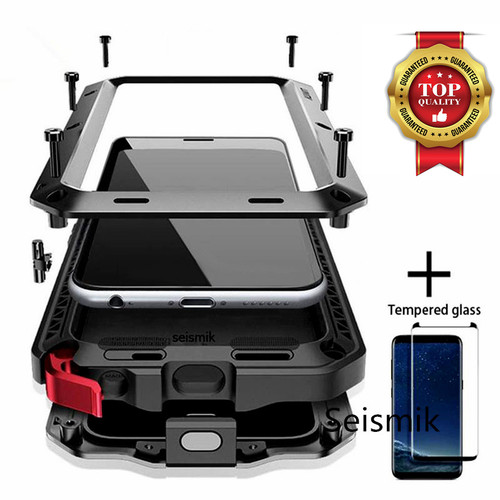 Tempered glass Full Protective Luxury Doom Armor Metal Case Shockproof Cover For Samsung S7 S8 S10 S10Plus S9 S9Plus Note8 Note9