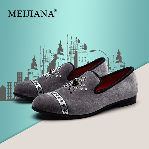MEIJIANA Fashion Brand Loafers Men Dress Shoes Hot Drilling Handmade Luxurious Flats Wedding Shoes Men's Classic Loafers
